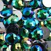 Acrylic Round Flat Back Rhinestones 20mm Green Aurora Borealis 200pcs/bag